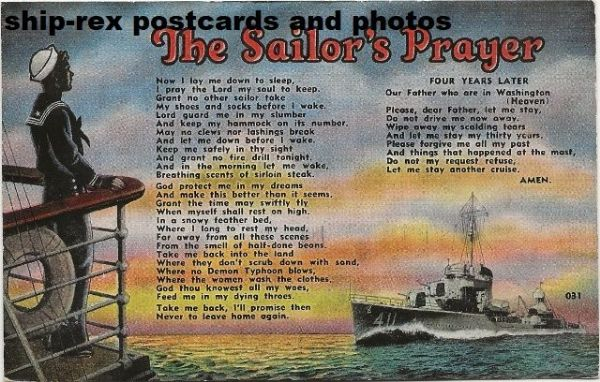 ANDERSON (US Navy) on Sailor's Prayer postcard